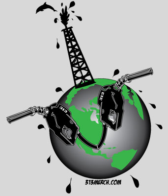 Oil Tower Earth T Shirt